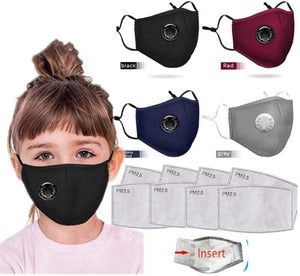 4PC Face Bandanas Cotton with Breathing valve Face Mask Health for Kids