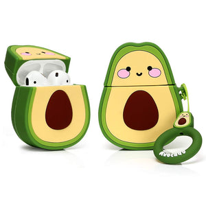 LEWOTE Airpods Silicone Case Funny Cute Cover Compatible for Apple Airpods 1&2[Fruit and Vegetable Series][Best Gift for Girls or Couples] (Smile Avocado)