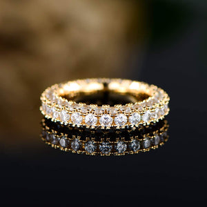 18k White Gold or Rose Gold Plated Cubic Zirconia Eternity Band Ring Cocktail Jewelry