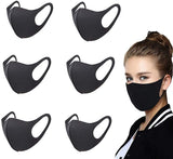 Face Mask Unisex Mouth Mask Dust Mask Anti Pollution Mask Reusable Cotton Face Mask Mouth Masks Breathable Ear Loop Face Dust Mask for Cycling Camping Travel Black (6 Pieces)