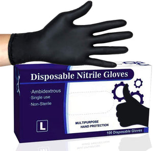 Disposable Gloves II,Nitrile Kitchen Large Black Non Latex Daily Supplies for Food Service/Mechanic/Cleaning/Paint/Tattoo/Cooking/Hair Coloring Durable,Fit by NOSAME