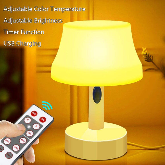 LED Night Light, Portable Simple Design Nursery Lamps, Remote Control Battery Powered Dimmable Table Lamp with Timer Function For Bedroom, Living Room, Kids Room (Remote Control LED Night Light)