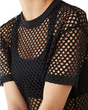 Women's Mesh Cover Up See Through Fishnet T-Shirt Crop Top