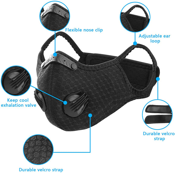 MRLI Sports Facial Masks with Activated Carbon Filter, Cycling Mask with 2 Breathing Valve and 4 Soft Foam Padding for Walking Running Cycling Men Women