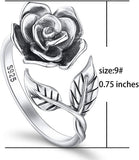Rose Flower Ring for Women S925 Sterling Silver Adjustable Wrap Open Ring