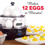 Dash DEC012BK Deluxe Rapid Egg Cooker Electric for for Hard Boiled, Poached, Scrambled, Omelets, Steamed Vegetables, Seafood, Dumplings & More 12 Capacity, with Auto Shut Off Feature Black