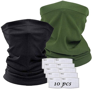 Scarf Bandanas Mask - Multi-Purpose Bandana Mask Neck Gaiter with Safety Carbon Filters for Men Women Sports&Outdoors
