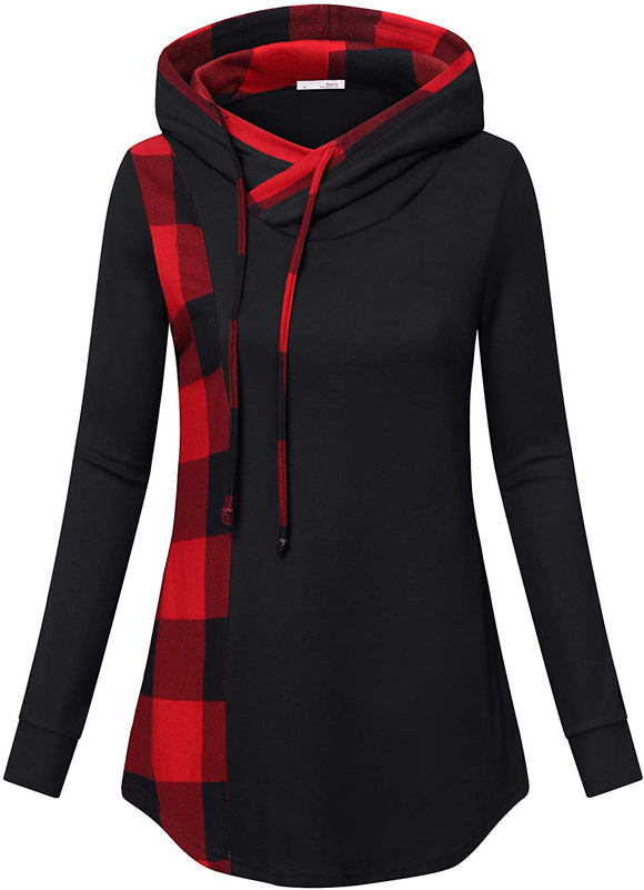 Women's Funnel Neck Check Contrast Tunics Lightweight Pullover Hoodie Top