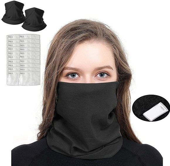 Face Mask Bandana with Safety Carbon Filters Multifunction Face Cover Scarf Headband, 3 in 1 Pack