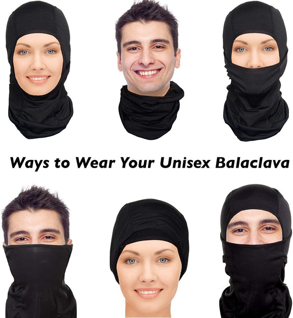 Summer Face Mask Balaclava Protection from Dust, Aerosols, UV & Elements, Bandana Black