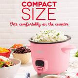 Mini Rice Cooker Steamer with Removable Nonstick Pot, Keep Warm Function & Recipe Guide, 2 cups, for Soups, Stews, Grains & Oatmeal, Pink