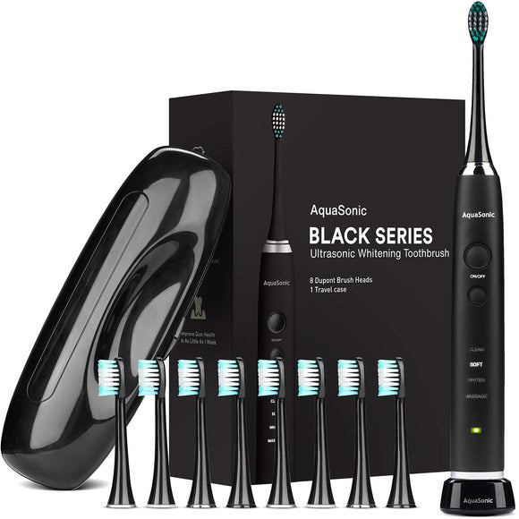 AquaSonic Black Series Ultra Whitening Toothbrush - 8 DuPont Brush Heads & Travel Case Included - Ultra Sonic 40,000 VPM Motor & Wireless Charging - 4 Modes w Smart Timer - Modern Electric Toothbrush