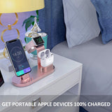 OLEBR 3 in 1 Charging Stand Compatible with iWatch Series 6/SE/5/4/3/2/1, AirPods Pro and iPhone Series 12/11 Series/Xs/X Max/XR/X/8/ 8P/7/7P/6S/6S Plus(Original Charger & Cables Required) Rose Gold