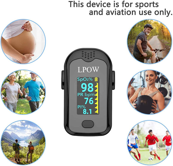Pulse Oximeter Fingertip, Blood Oxygen Saturation Monitor for Pulse Rate, Heart Rate Monitor and SpO2 Levels with OLED Screen Display Batteries and Lanyard Included