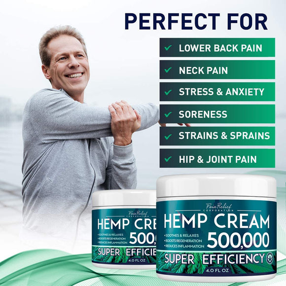 Hemp Pain Relief Cream for Arthritis, Back Pain & Muscle Pain Relief - Efficient Inflammation Cream & Carpal Tunnel Relief - Made in USA - Good for Skin Heal