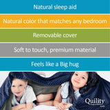 "Premium Adult Weighted Blanket & Removable Cover - 30 lbs - 86""x92"" - for Individual or Couples Between 220-280 lbs - Queen Size Bed - Premium Glass Beads - Cotton/Minky - Grey/Grey Color"