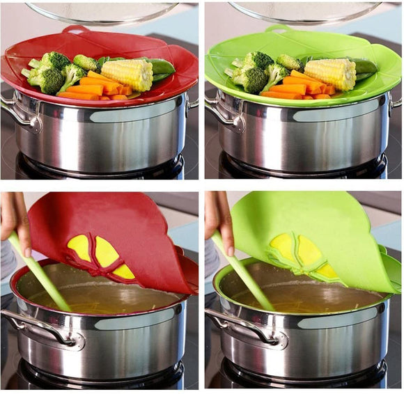 Spill Stopper Lid Cover,Boil Over Safeguard,Silicone Spill Stopper Pot Pan Lid Multi-Function Cooking Tool,Kitchen Gadgets