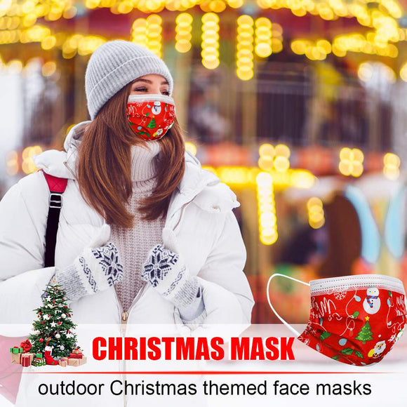 Christmas Face Mask Disposable Face Mask for Adult Women Men christmas face mask(50PCS)