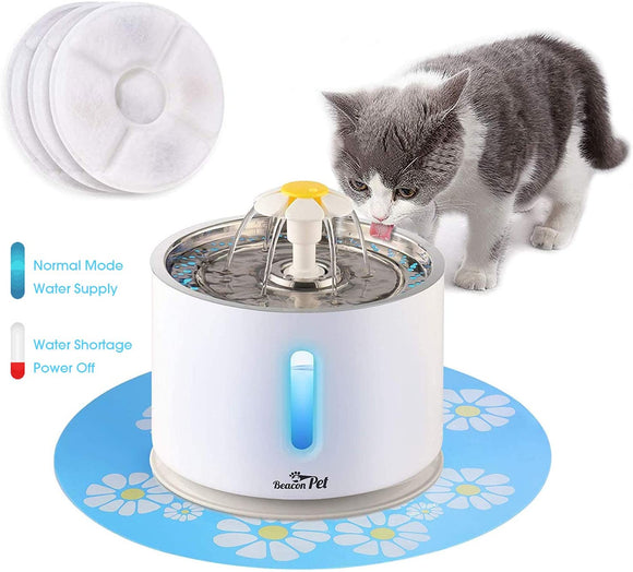 Beacon Pet Cat Water Fountain Stainless Steel, LED 81oz/2.4L Automatic Pet Fountain Dog Water Dispenser with 3 Replacement Filters & 1 Silicone Mat for Cats Dogs Multiple Pets