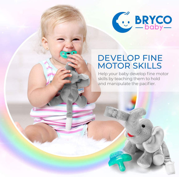 Baby Elephant Pacifier Holder - Includes Detachable Pacifier