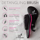 ArtNaturals Detangling Hair Brush Set - (2 Piece Gift Set - Pink & Black) - Detangler Comb for Women, Men and Kids - Wet & Dry – Removes Knots and Tangles, Best for Thick and Curly Hair – Pain Free
