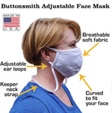 Extra Large Adult Cotton Adjustable Face Mask with Filter Pocket  - Made in The USA