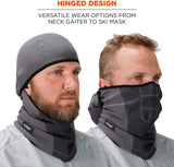 Ergodyne N-Ferno 6823 Balaclava Ski Mask, Wind-Resistant Face Mask, Hinged Design to Wear as Neck Gaiter, Gray