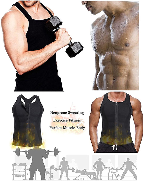 Men Sauna Sweat Vest Tank Top Shirt for Weight Loss Waist Trainer Workout