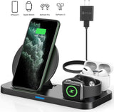 Latest 2020 Wireless Charger Qi-Certified Wireless Charging Station for AirPods Pro Apple Watch Series 5/4/3/2/1,Fast Wireless Charging Stand for iPhone 11 Pro/11 Pro Max/XS Max/XR/X