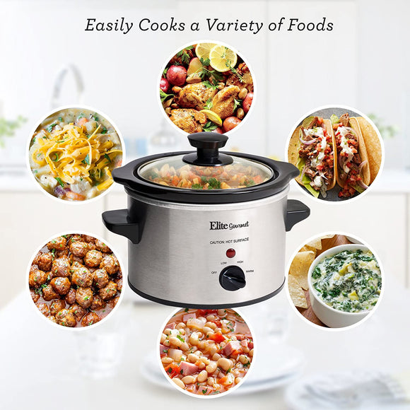 Electric Slow Cooker, Adjustable Temp, Entrees, Sauces, Stews & Dips, Dishwasher Glass Lid & Ceramic Pot, 1.5Qt Capacity, Stainless Steel