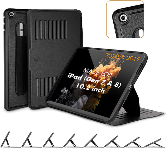 ZUGU CASE (2020/2019) Muse Case for iPad 7th / 8th Gen 10.2 Inch Protective, Thin, Magnetic Stand, Sleep/Wake Cover - Black (Fits Model #s A2197 / A2198 / A2200 / A2270 / A2428 / A2429 / A2430)