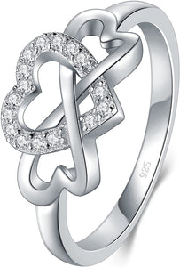 925 Sterling Silver Ring, High Polish Cubic Zirconia Infinity and Heart Tarnish Resistant Comfort Fit Ring