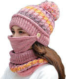 Womens Girls Knit Beanie Scarf Mask Set Soft Warm Fleece Lined Winter Ski Hat with Pompom