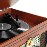 Nostalgic Classic Wood 6-in-1 Bluetooth Turntable Entertainment Center, Mahogany