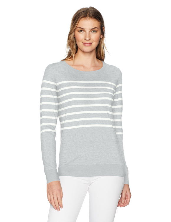 Amazon Essentials Women's Lightweight Crewneck Sweater, Light Grey Heather/White Placed Stripe, Medium