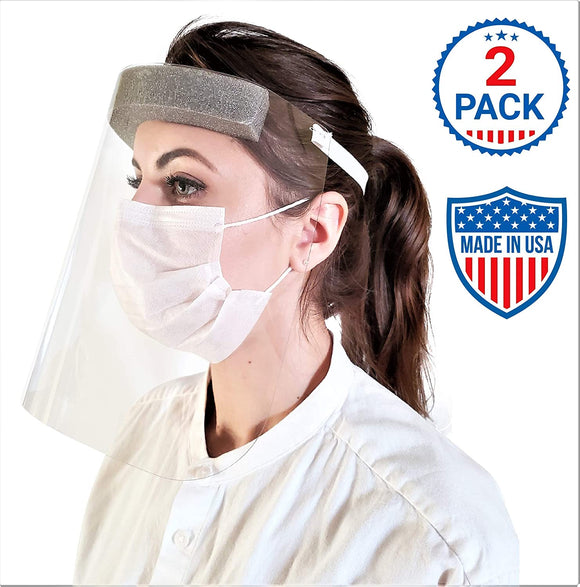Face Shields with Protective Clear Film, Elastic Band and Comfort Sponge. Eye Protection. (2 Pack)