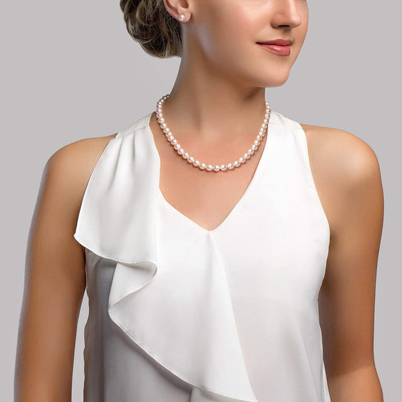 White Freshwater Cultured Pearl Necklace for Women in 18 Inch Length with 14K Gold and AAA Quality