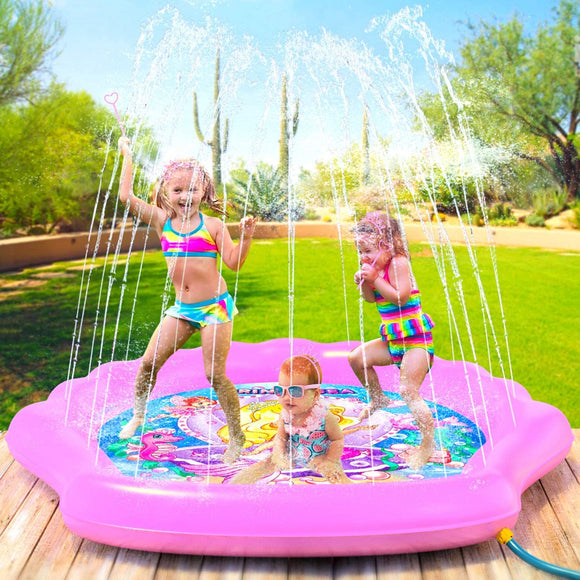Splash Pad Wading Pool & Sprinkler for Kids - Inflatable Kiddie Swimming Pool