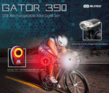 USB Rechargeable LED Bike Light Set, Bicycle Headlight Front Light & Free Rear Back Tail Light