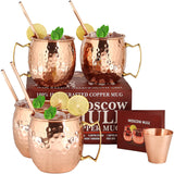 Set of 4Pure Solid Copper Mugs Cocktail Copper Straws and 1 Shot Glass with Recipe Booklet
