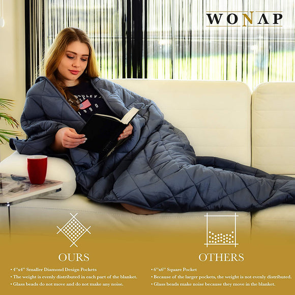 Cooling Weighted Blanket | 100% Natural Bamboo with Premium Glass Beads | 20 lbs | 60