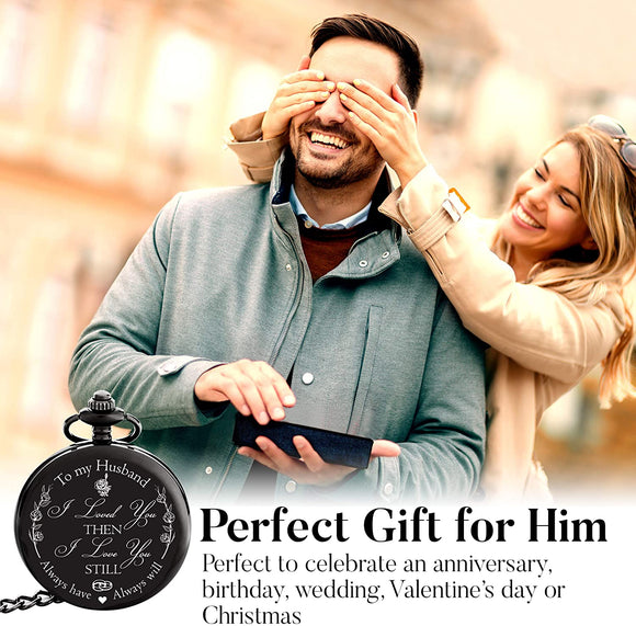 Anniversary Gifts for Him / Men / Husband | Engraved 'To my Husband' Pocket Watch | I Love You Gift for Husband for Birthday / Valentines / Happy Anniversary!