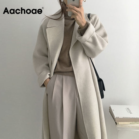Aachoae Women Elegant Long Wool Coat With Belt Solid Color Long Sleeve Chic Outerwear Ladies Overcoat Autumn Winter 2020