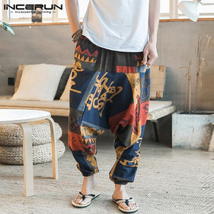 Baggy Cotton Linen Harem Pants Men Hip-hop Women Plus Size Wide Leg Trousers Casual Vintage Long Pants Pantalones Hombre 2019