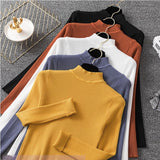 Knitted Jumper Autumn Winter Tops Turtleneck Pullovers Casual Sweaters Women Shirt Long Sleeve Short Slim Sweater Girls