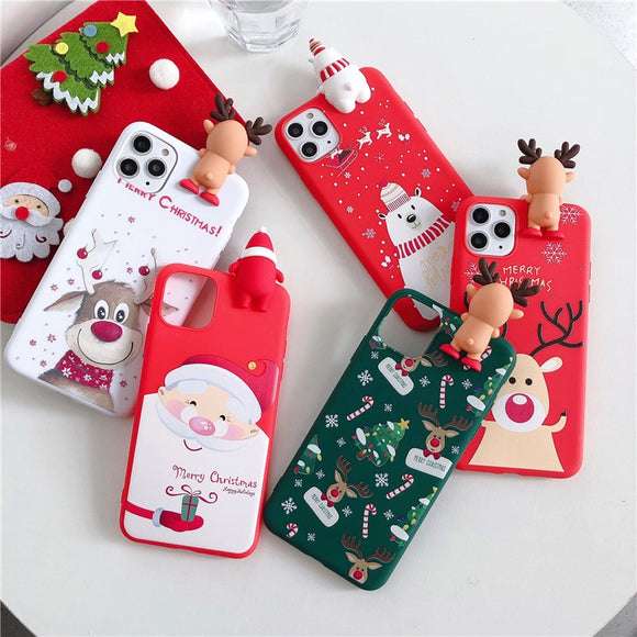 Cute 3D Doll Cartoon Christmas Santa Reindeer Tree soft Phone Case for iphone 11 Pro Max 12 X XS XR 7 8 Plus SE 2020 cover gift