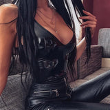 Ellolace Leather Black Bodysuit Women Female 2020 V-Neck Backless Jumpsuit Sexy Bodycon Bodys Summer Pu Black Bodysuits Female