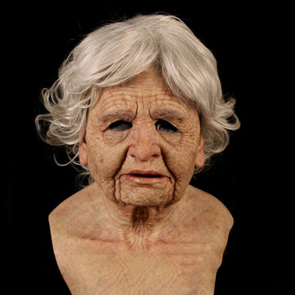 Tiktok Hot Video Fashion Halloween Party Headgear Old Woman Full Mask