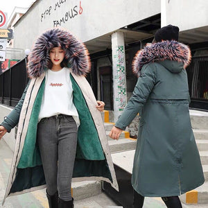 Fashion Long Detachable Lamb Hair Liner Parker Cotton Jacket Coat New Warm Women's Winter Jackets Big Faux Fur Coats Parkas
