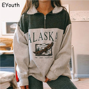 Fashion women's cotton Stand collar half zipper letter printing long sleeve sweatshirts Vintage Grey casual loose sweatshirt